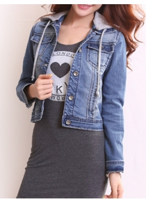 Detachable Hooded Short Buttoned Jacket