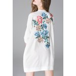 cheap Button Front Back Embroidery Dress