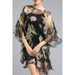 Asymmetric Floral Ruffled Dress