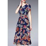 V Neck Ruched Floral Dress