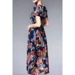 cheap V Neck Ruched Floral Dress