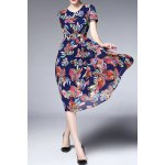 V Neck Ruched Floral Dress for sale