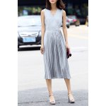 V Neck Pleated Solid Color Dress