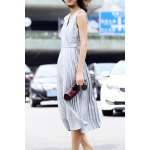 cheap V Neck Pleated Solid Color Dress