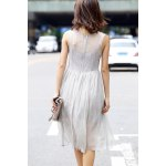 cheap Ruched Solid Color Pleated Dress