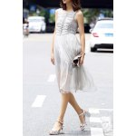 Ruched Solid Color Pleated Dress deal