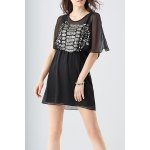 Split Sleeve Beading Chiffon Dress