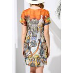 cheap Round Neck Printed Dress