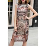 Print Slit Cheongsam Dress
