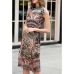 Print Slit Cheongsam Dress deal