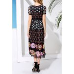 cheap Floral Print Lace Embellished Dress