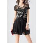 Buy Waisted Corset Beaded Dress L BLACK