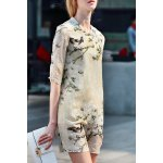 Half Sleeve A Line Floral Dress deal