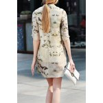 cheap Half Sleeve A Line Floral Dress