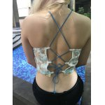 Stylish Embroidered Cross Back Crop Top For Women deal