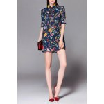 Polo Collar Floral Print Beaded Dress for sale