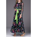 Floral Embroidered Belted Long Dress deal