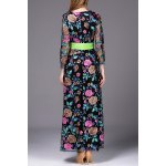 cheap Floral Embroidered Belted Long Dress