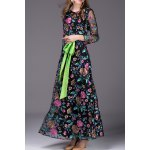 Floral Embroidered Belted Long Dress for sale