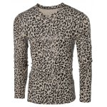 cheap V-Neck Leopard Pattern  Long Sleeve T-Shirt For Men