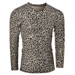 V-Neck Leopard Pattern  Long Sleeve T-Shirt For Men