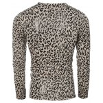 V-Neck Leopard Pattern  Long Sleeve T-Shirt For Men deal