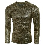 cheap V-Neck Metal Style Letters Pattern Long Sleeve T-Shirt For Men