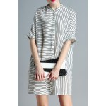 Stand Neck Striped Loose Fitting Dress