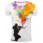 Round Neck 3D Sniper and Colorful Splash-Ink Print Short Sleeve Stylish T-Shirt For Men