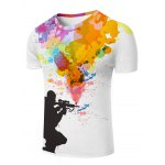 cheap 3D Sniper and Colorful Splatter Paint Print T-Shirt