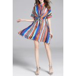 Colorful Stripes Waisted Bowknot Shirt Dress deal
