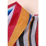best Colorful Stripes Waisted Bowknot Shirt Dress