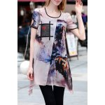 Asymmetric Cut Out Printed Dress for sale