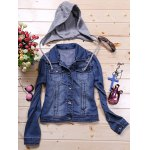 Detachable Hooded Short Buttoned Jacket for sale