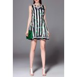 Striped Leaves Print Sleeveless Dress for sale