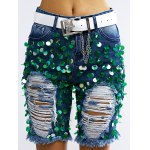 cheap Fashionable Sequined Denim Ripped Shorts Women