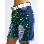 Fashionable Sequined Denim Ripped Shorts Women deal