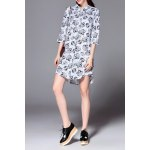 Polo Collar Butterfly Print Dress for sale