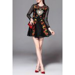 Floral Embroidered Openwork Mini Dress for sale