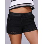Fashion Black Drawstring Lace Shorts For Women