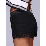 Fashion Black Drawstring Lace Shorts For Women deal