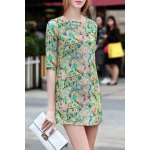 Flower Pattern Button Design Dress for sale