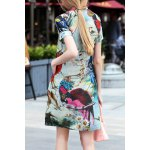cheap Printed Shift Mini Dress