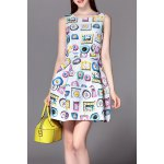 Sleeveless Clock Print Mini Dress