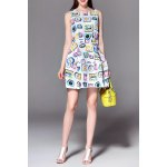 Sleeveless Clock Print Mini Dress deal
