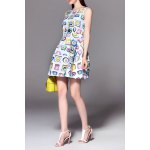 best Sleeveless Clock Print Mini Dress