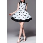 Bowknot Print Flare Dress for sale