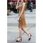 See Through Printed Sleeveless Dress for sale