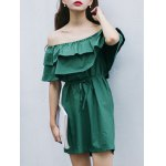 cheap Fashion Off The Shoulder Flouncing Spliced Belted Dress For Women