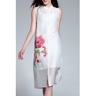 Buttoned Sleeveless Dress and Cami Dress Suit